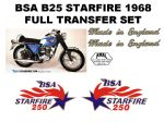BSA B25 Starfire 250cc Transfer Decal Set
